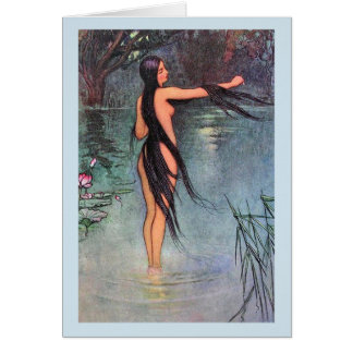 Woman Bathing in the Lake - Card