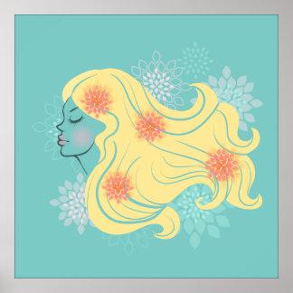 Woman beautiful hair illustration poster