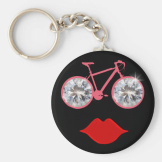 woman bike mouth diamond keychain