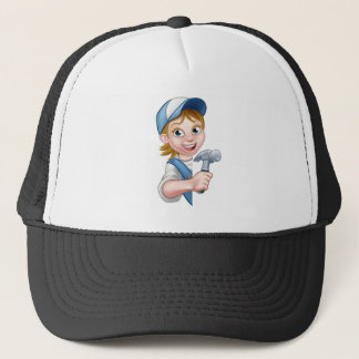 Woman Builder Carpenter Cartoon Trucker Hat
