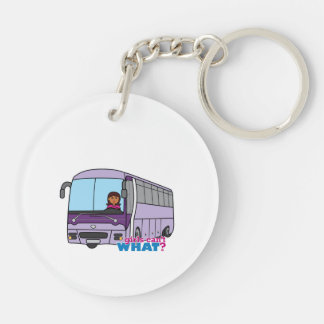 Woman Bus Driver Double-Sided Round Acrylic Keychain