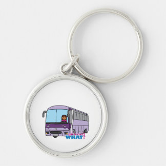 Woman Bus Driver Silver-Colored Round Keychain