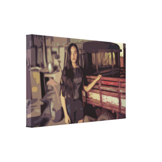 Woman by an old Vintage Truck Simple Design Canvas