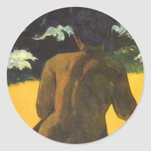 Woman by the Sea, Gauguin, Vintage Impressionism Round Stickers