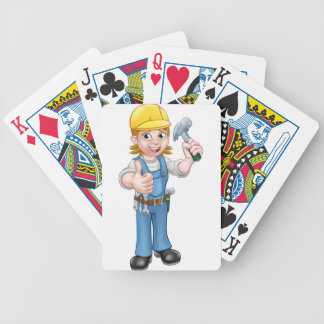 Woman Carpenter Holding Hammer Bicycle Playing Cards