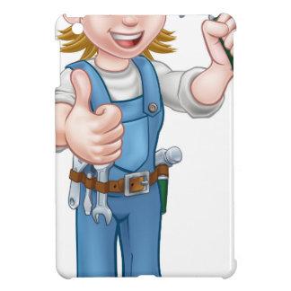 Woman Carpenter Holding Hammer iPad Mini Cases