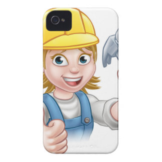 Woman Carpenter Holding Hammer iPhone 4 Cover