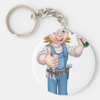 Woman Carpenter Holding Hammer Keychain
