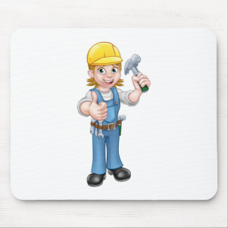 Woman Carpenter Holding Hammer Mouse Pad