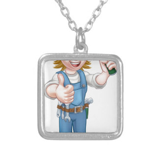 Woman Carpenter Holding Hammer Silver Plated Necklace