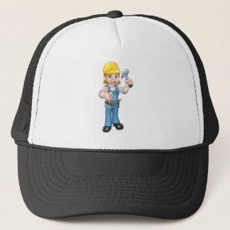 Woman Carpenter Holding Hammer Trucker Hat