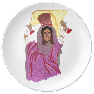 Woman carrying food porcelain plates