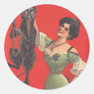 Woman Catching Krampus Classic Round Sticker