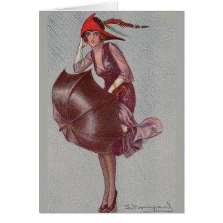 Woman Caught in the Rain, Card