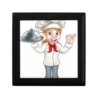 Woman Chef Cartoon Character Mascot Gift Box