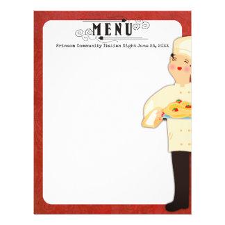 Woman chef Italian pasta spaghetti menu letterhead