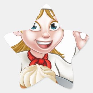 Woman Chef or Baker Cartoon Star Sticker