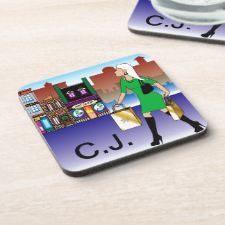Woman Christmas shopping with bags dressed fashion Beverage Coasters