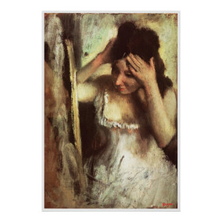 Woman Combing Her Hair before a Mirror - Degas Print