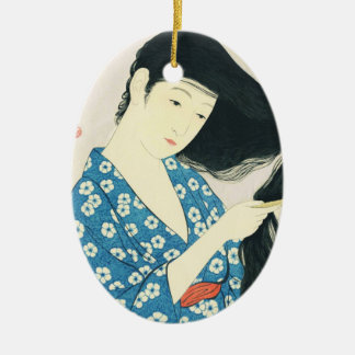 Woman Combing Her Hair Hashiguchi Goyo Ceramic Oval Ornament