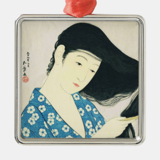Woman Combing Her Hair Hashiguchi Goyo Silver-Colored Square Ornament