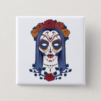 Woman Day of the Dead 2 Inch Square Button