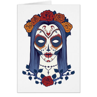 Woman Day of the Dead Card