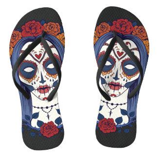 Woman Day of the Dead Flip Flops