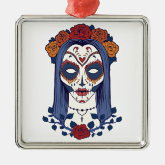 Woman Day of the Dead Metal Ornament