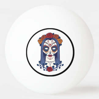 Woman Day of the Dead Ping Pong Ball