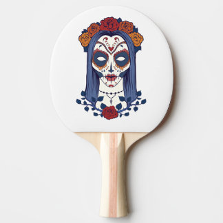 Woman Day of the Dead Ping Pong Paddle