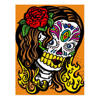 woman day of the dead postcard