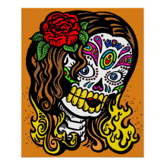 woman day of the dead poster