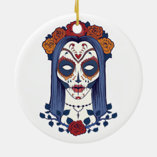 Woman Day of the Dead Round Ceramic Ornament
