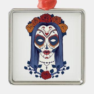 Woman Day of the Dead Silver-Colored Square Ornament