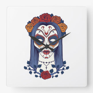Woman Day of the Dead Square Wall Clock