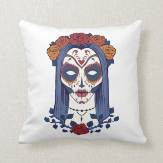 Woman Day of the Dead Throw Pillow