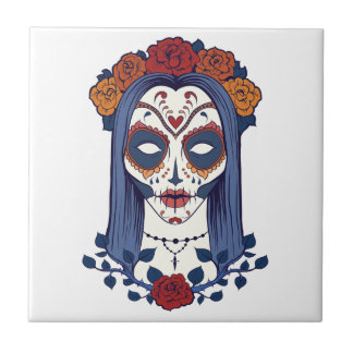 Woman Day of the Dead Tile