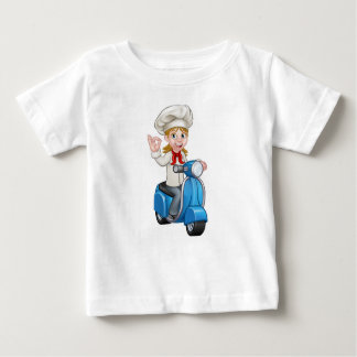 Woman Delivery Scooter Female Chef Baby T-Shirt