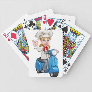 Woman Delivery Scooter Female Chef Bicycle Playing Cards