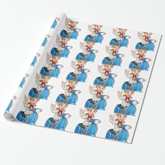 Woman Delivery Scooter Female Chef Wrapping Paper
