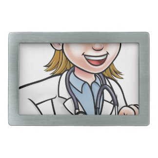 Woman Doctor Cartoon Character Pointing Belt Buckles