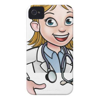 Woman Doctor Cartoon Character Pointing iPhone 4 Case-Mate Case