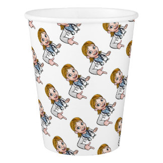 Woman Doctor Cartoon Character Pointing Paper Cup
