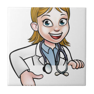 Woman Doctor Cartoon Character Pointing Tile