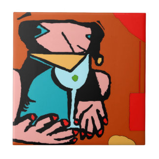 Woman Drinking Abstract Cubism Tile