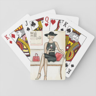 Woman Drinking Red Wine Playing Cards