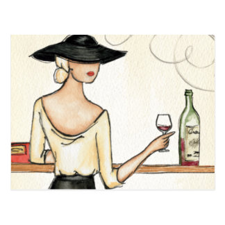 Woman Drinking Spanish Wine Postcard