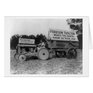 Woman Driving Fordson Tractor Photograph Card