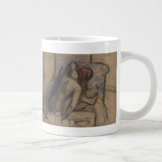Woman Drying Her Hair Large Coffee Mug